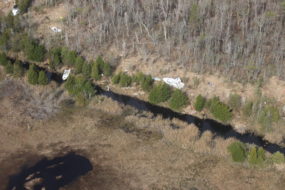 Boats washed ashore on Edwin B. Forsythe National Wildlife Refuge (NJ)