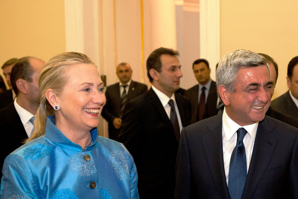 Secretary Clinton Meets With Armenian President Sargsian