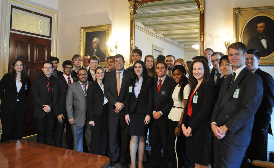 Fordham University students pose for a group photo with Deputy Secretary Neal Wolin