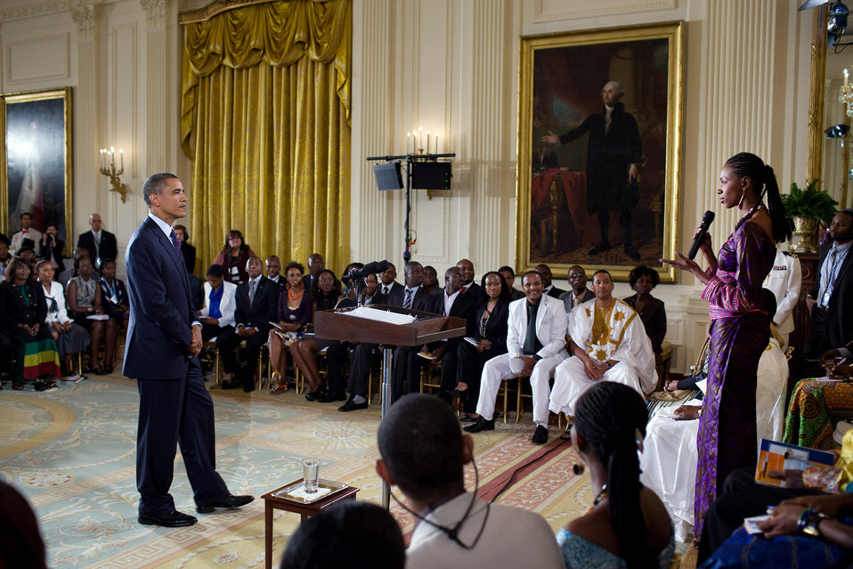 President Obama Listens to a Question from Fatoumata Amadou Sangho from Maliduring