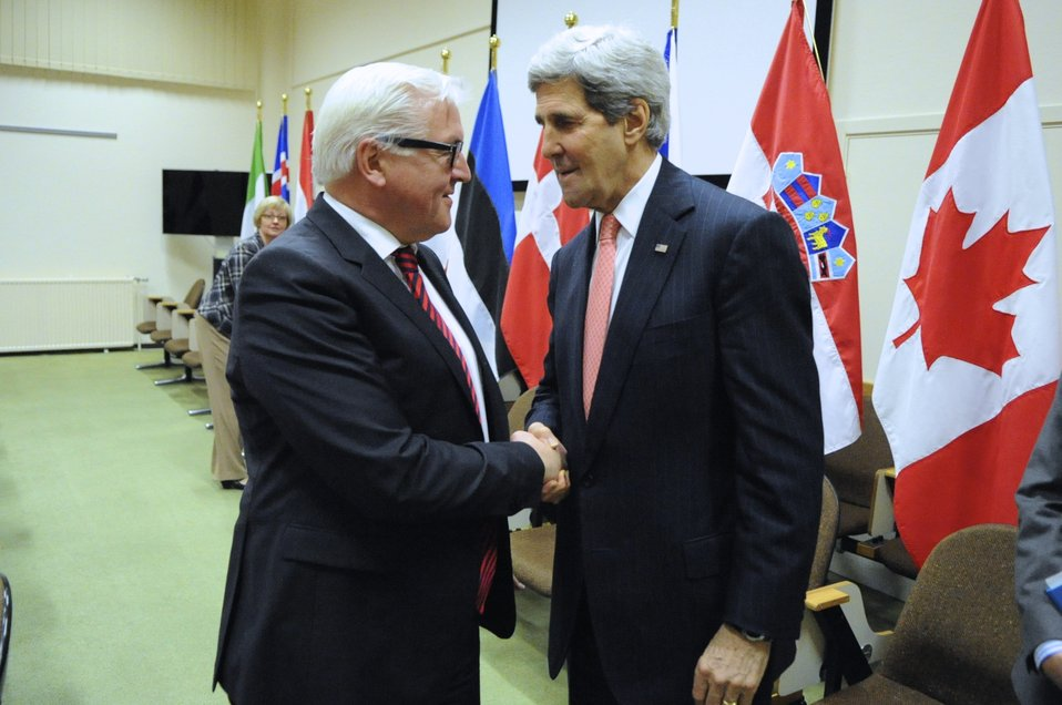 Secretary Kerry Meets With German Foreign Minister Steinmeier in Brussels