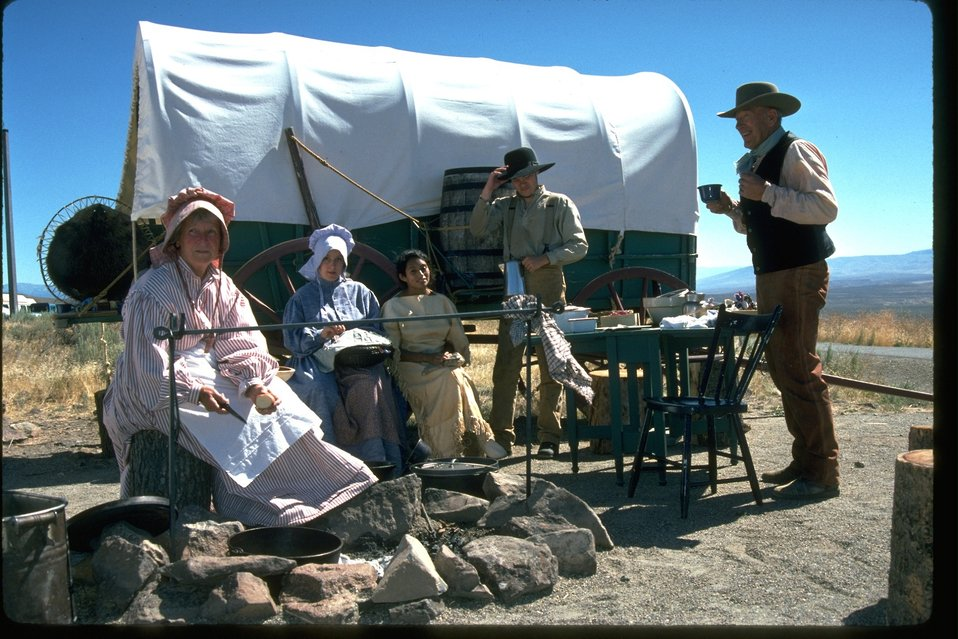 Pioneer re-enactors at encampment.