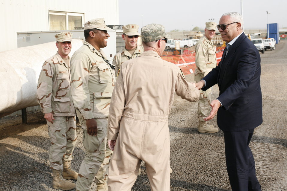 Former Secretary Powell Visits Soldiers in Djibouti