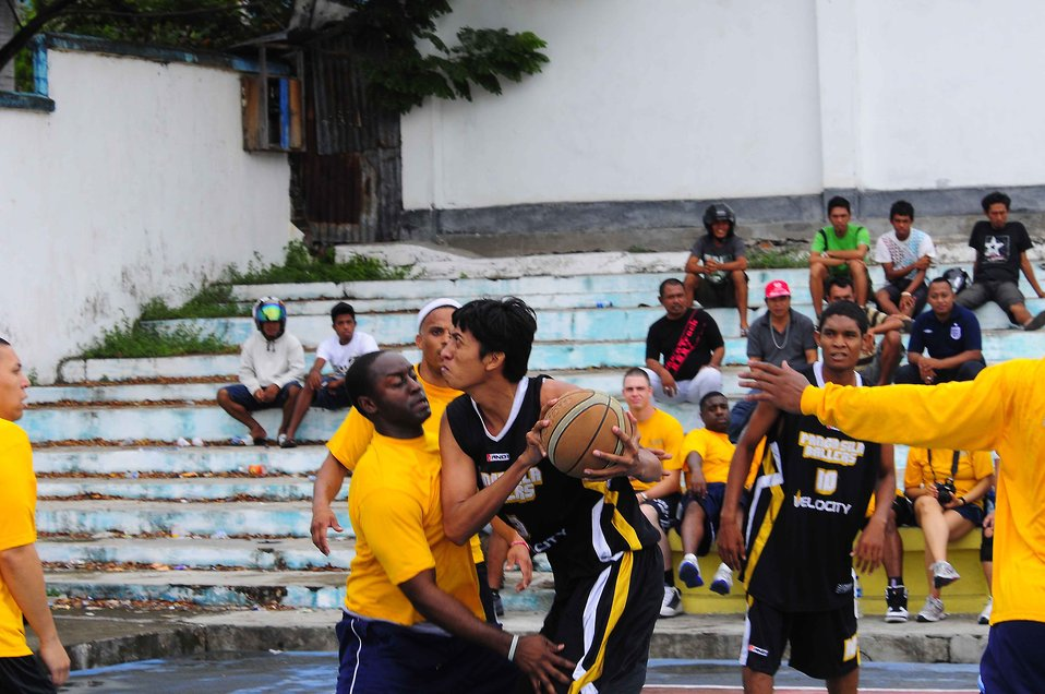 An Indonesian Player from Pangasila Ballers Goes Up for a Shot