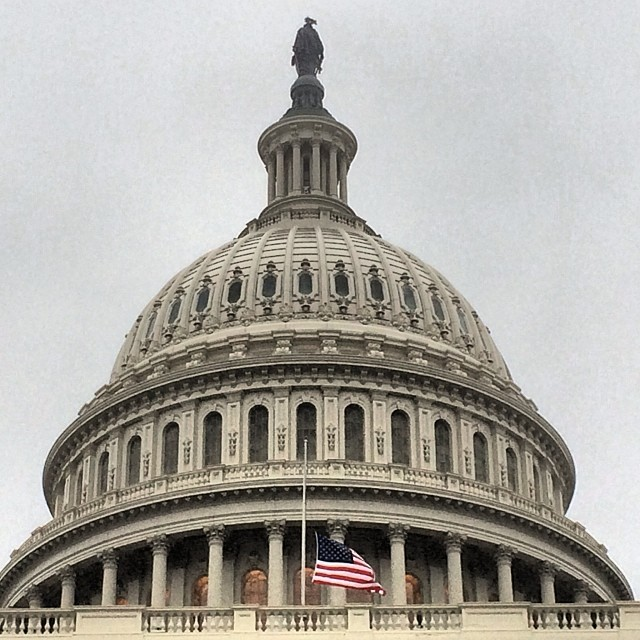 Capitol flags at half-staff in honor of Nelson Mandela.