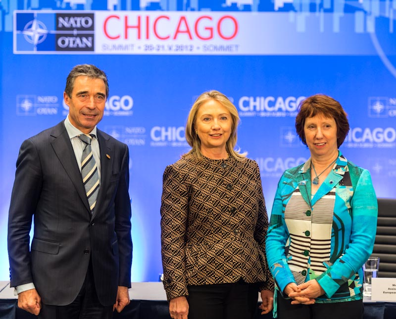 Secretary Clinton Participates in the US-NATO-EU Trilateral Meeting With EU High Representative Ashton and NATO Secretary General Rasmussen