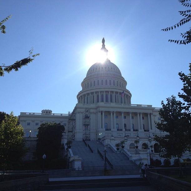 Bright sunrise over the Capitol