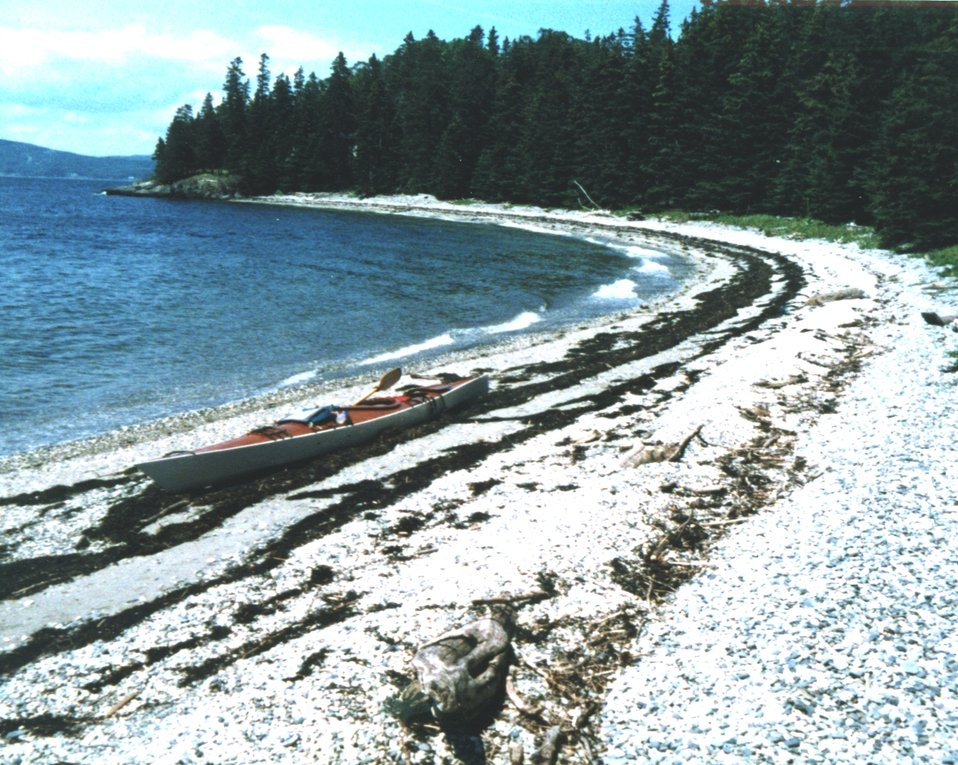 Pebble Beach on 700 Acre Island.  This beach has been formed from glacial material while the Philbrook Cove Beach, right around the corner, was formed from erosion of slate.