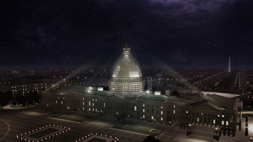 Rendering of scaffolding on Capitol Dome