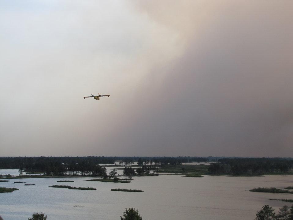 CL-215 Flying Through Smoke