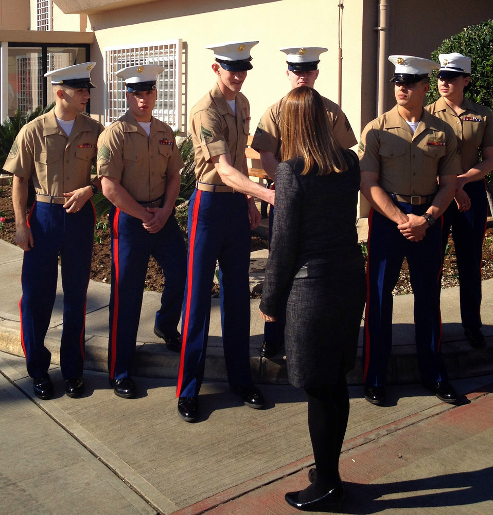 Deputy Secretary Higginbottom Greets Marine Security Guards