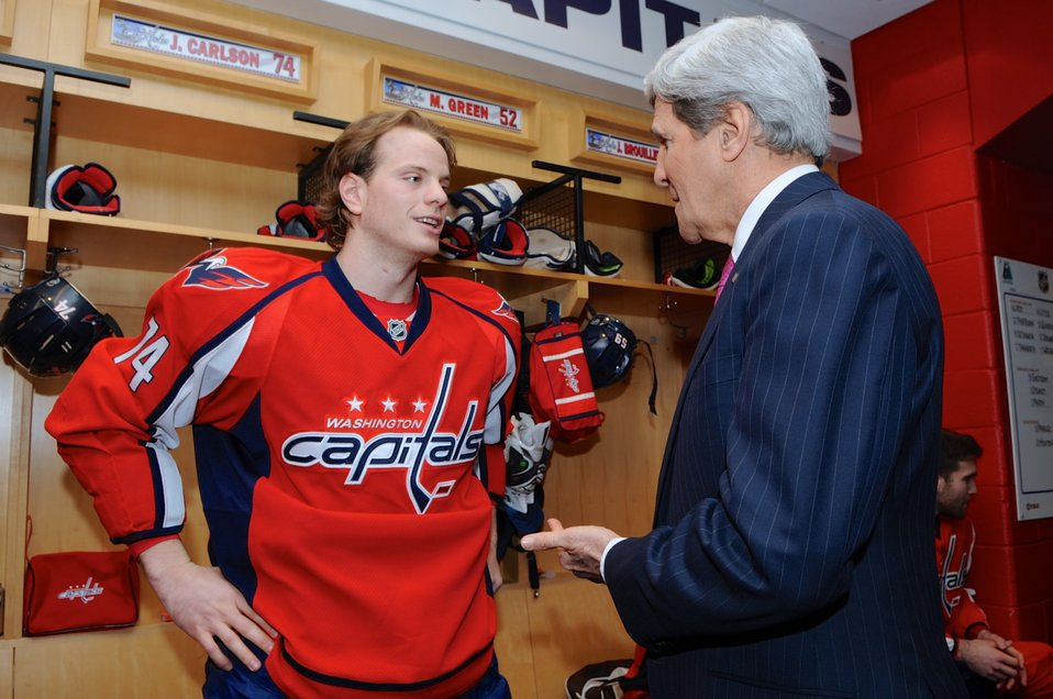 Secretary Kerry Meets Capitals Player Carlson Before Olympics Send-Off