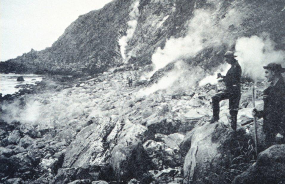Many fumaroles on the beach at Kagamil Island