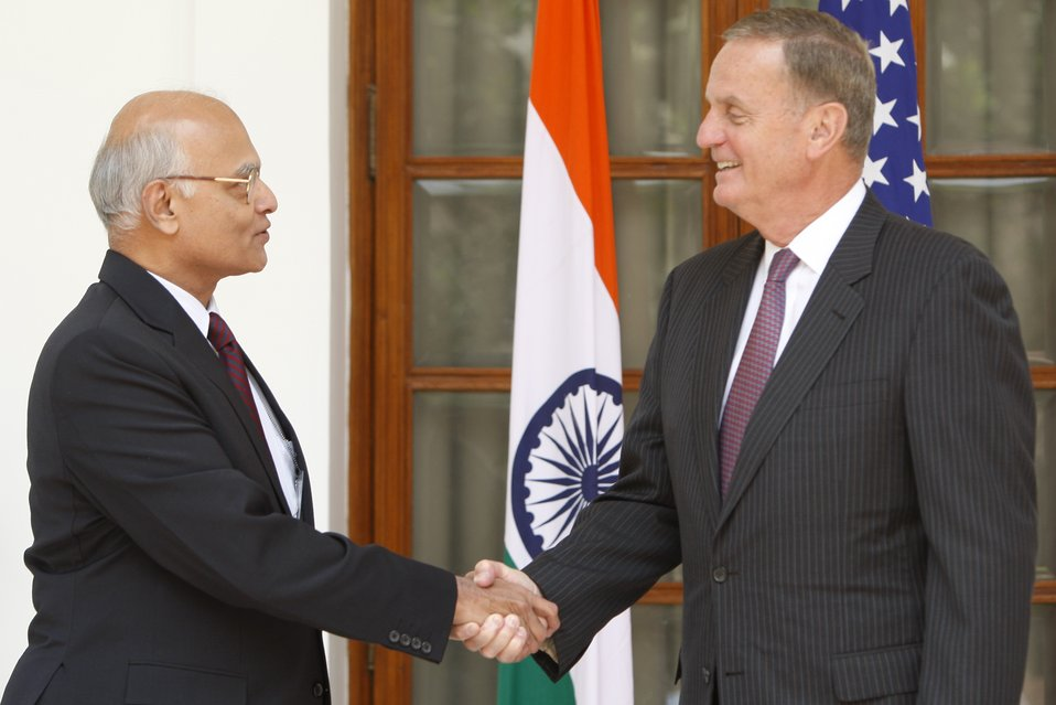 National Security Advisor General James Jones Shakes Hands With Indian National Security Advisor Shivshankar Menon
