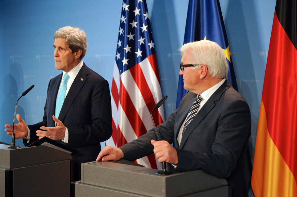 Secretary Kerry Speaks During News Conference With German Foreign Minister Steinmeier