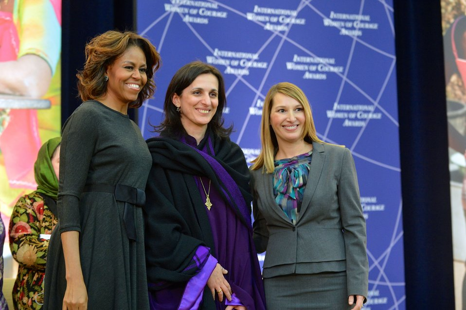 First Lady Michelle Obama and Deputy Secretary Higginbottom With Bishop Rusudan Gotsiridze of Georgia