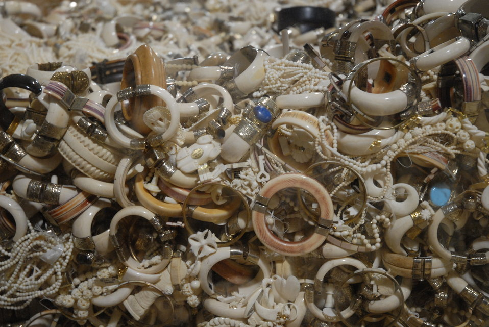 Confiscated ivory jewelry slated for destruction in the crush.