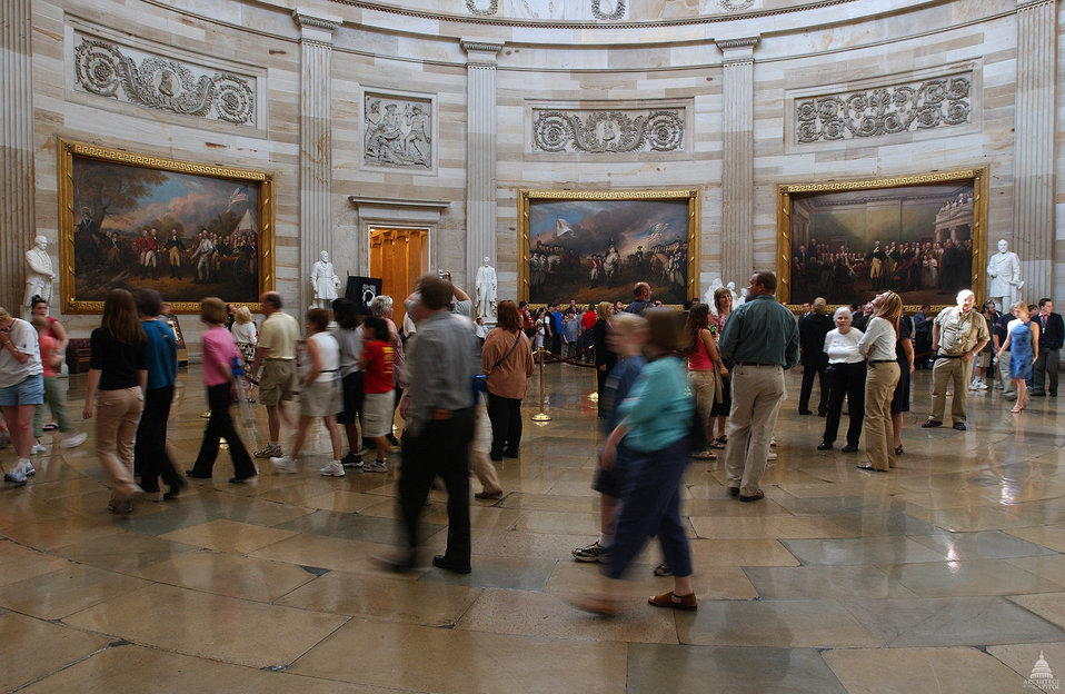 Tour groups in the Capitol Rotunda