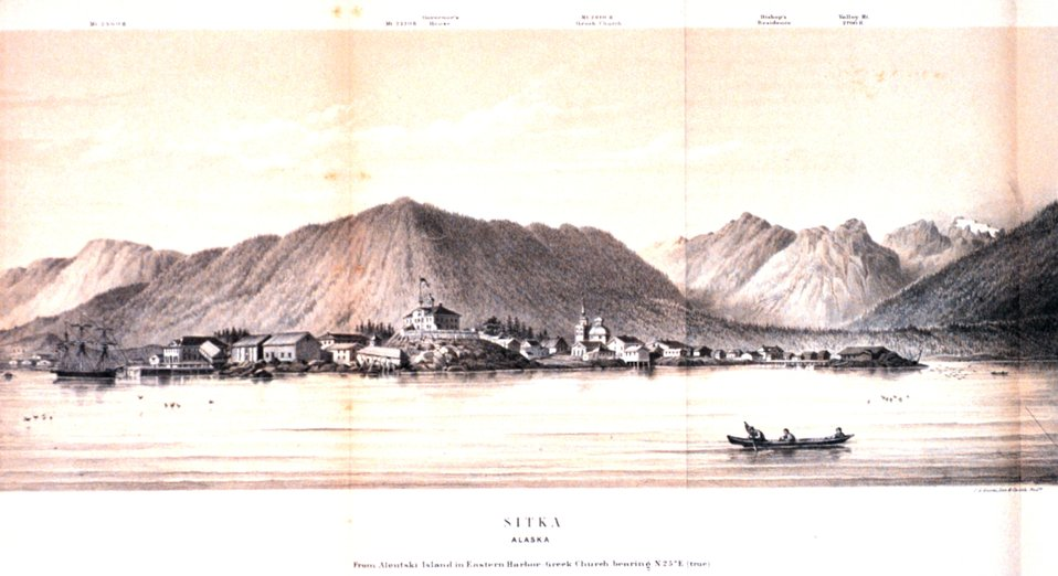 View of Sitka Harbor in:  'Coast Pilot of Alaska, (First Part,) ....' by George Davidson, 1869.  P. 120.  Library Call Number VK943 .N3 1st 1869.