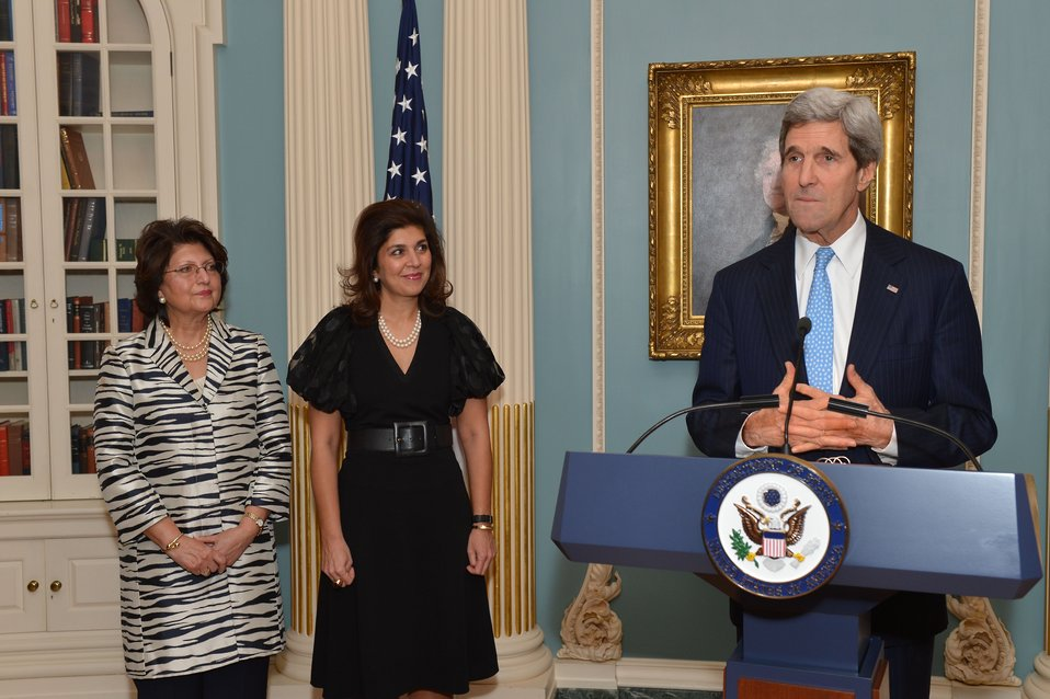 Secretary Kerry Delivers Remarks at a Farewell Reception for Special Representative Pandith