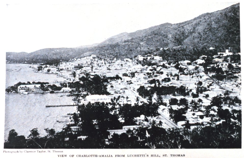 'View of Charlotte-Amalia from Luchetti's Hill.'  In: 'The Virgin Islands Our New Possessions and the British Islands', by Theodoor De Booy and John T. Faris, 1918.  J. B. Lippincott and Company, Philadelphia.  Frontispiece.  Library Call Number C/h