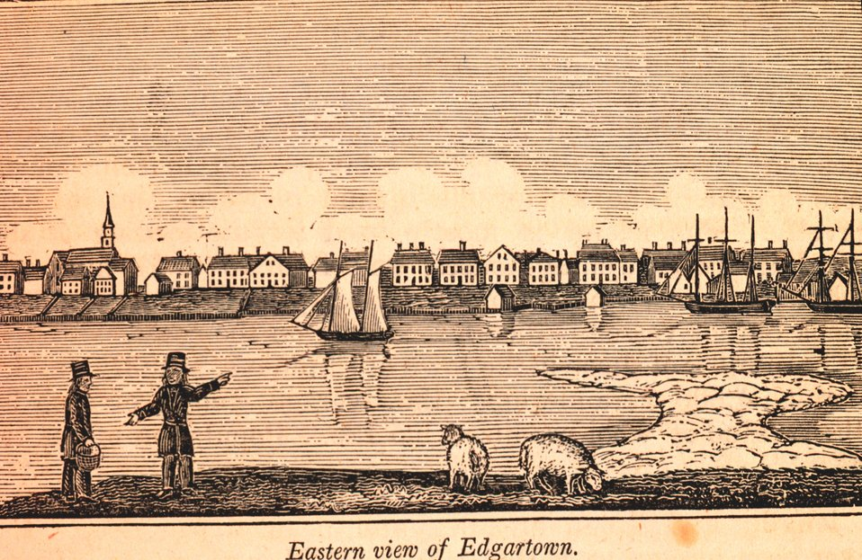 Edgartown Harbor as seen from Chappequiddick Island. In: Historical Collections ... of Every Town in Massachusetts.  1841.