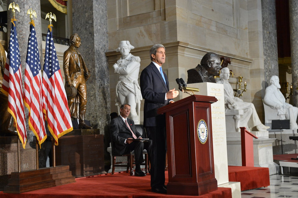 Secretary Kerry Delivers Remarks at the Dedication of a Bust of Winston Churchill