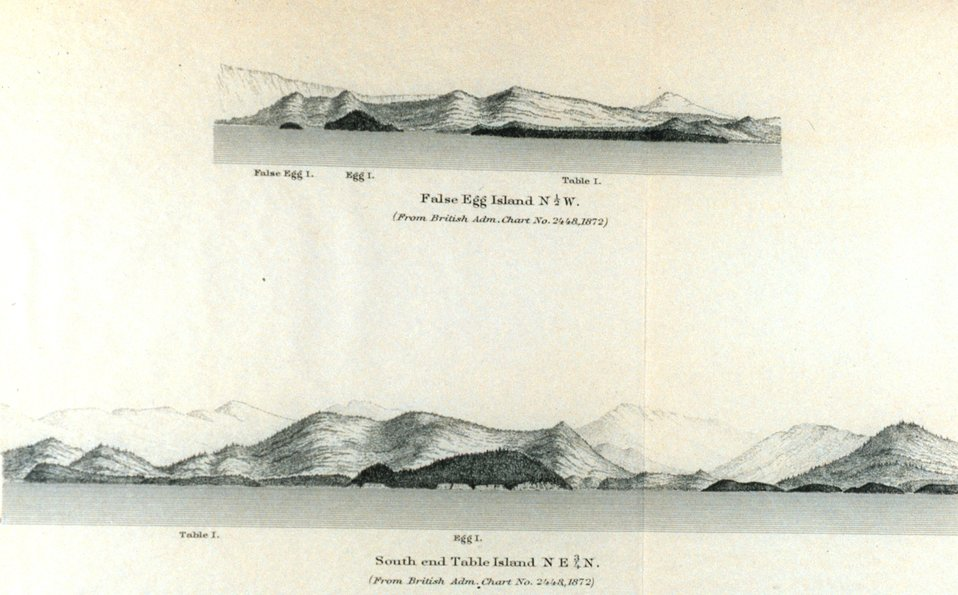 False Egg Island.  South End Table Island.  In: Pacific Coast Pilot Alaska Part I 1883.  P. 20.  Library call number VK943 .N3 1883.