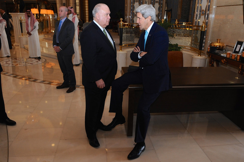 Secretary Kerry Chats With Ambassador Westphal Before Departing From Saudi Arabia