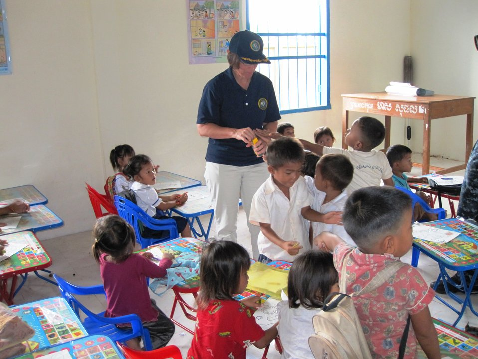 Commodore Franchetti Engages With Cambodian Children
