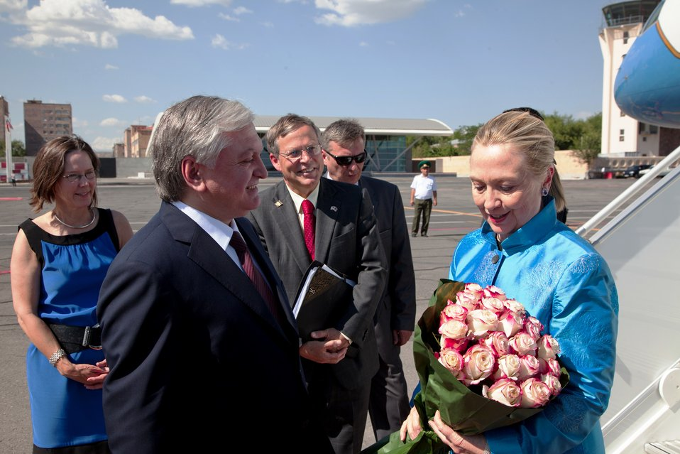 Secretary Clinton Is Greeted By Armenian Foreign Minister Nalbandian