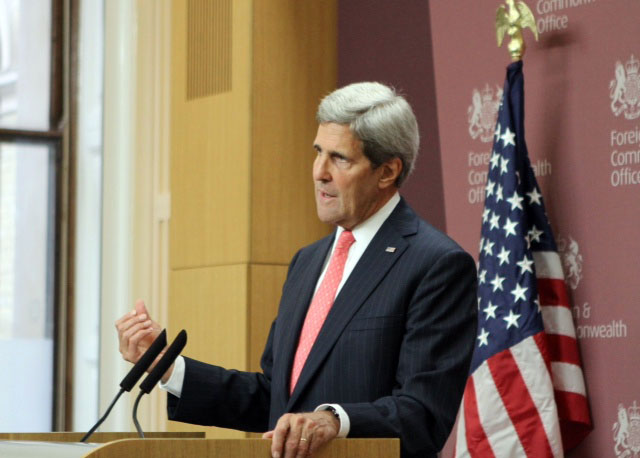 Secretary Kerry Addresses Reporters in London