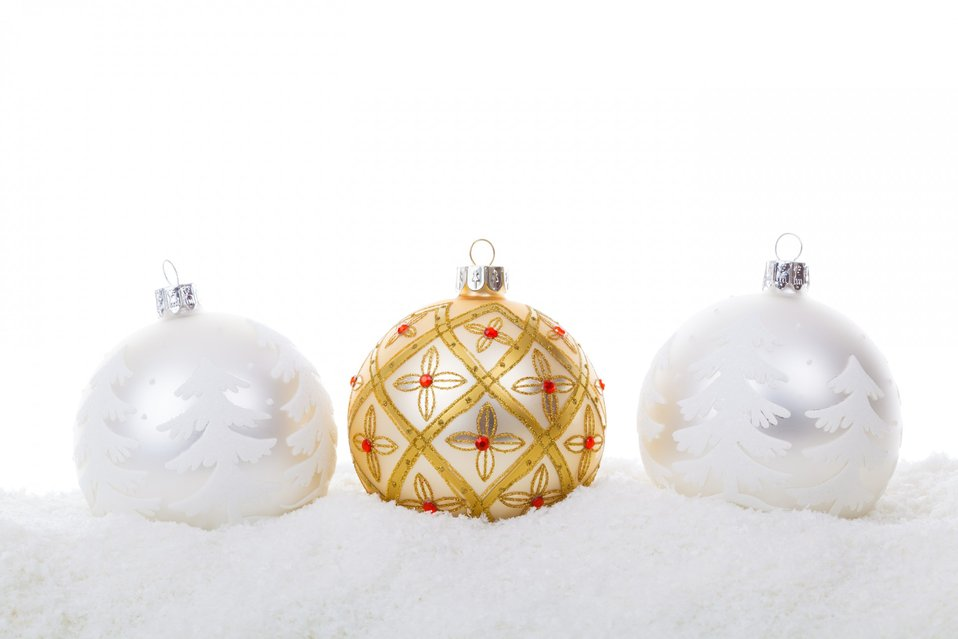 Christmas balls in snow isolated