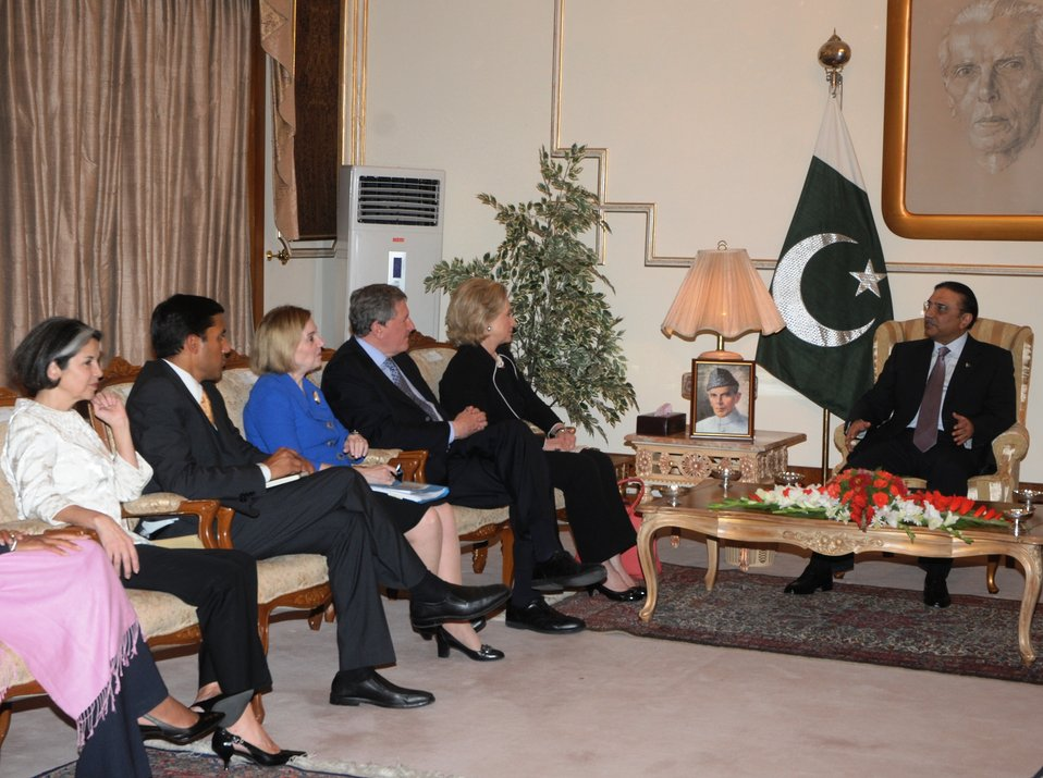 Pakistani President Asif Ali Zardai Meets With U.S. Secretary of State Hillary Rodham Clinton, Under Secretary Otero, USAID Administrator Shah, Ambassador Patterson and Special Representative Holbrooke