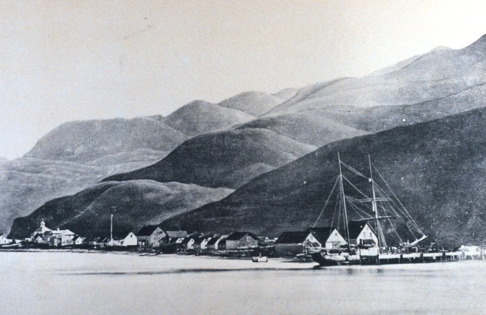 A view of Unalaska.  The Russian Orthodox Church can be seen on the left of the photograph.