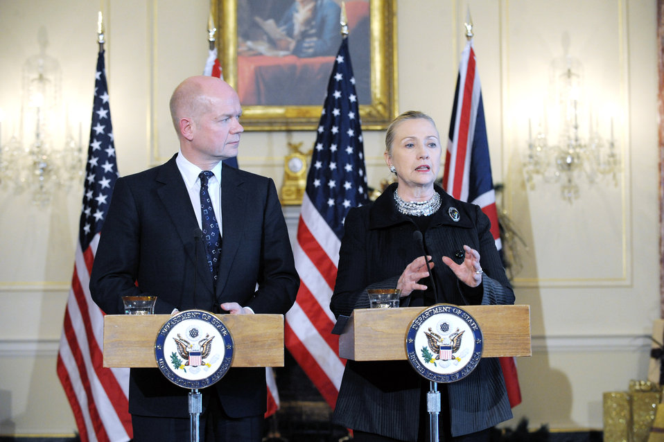 Secretary Clinton and UK Foreign Secretary Hague Hold a Press Conference
