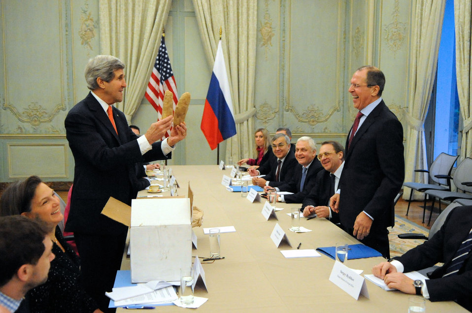 Secretary Kerry Displays a Pair of Idaho Potatoes for Russian Foreign Minister Lavrov