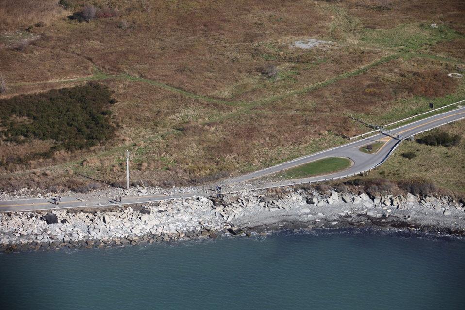 Debris on entrance road to Sachuest Pond National Wildlife Refuge (RI)