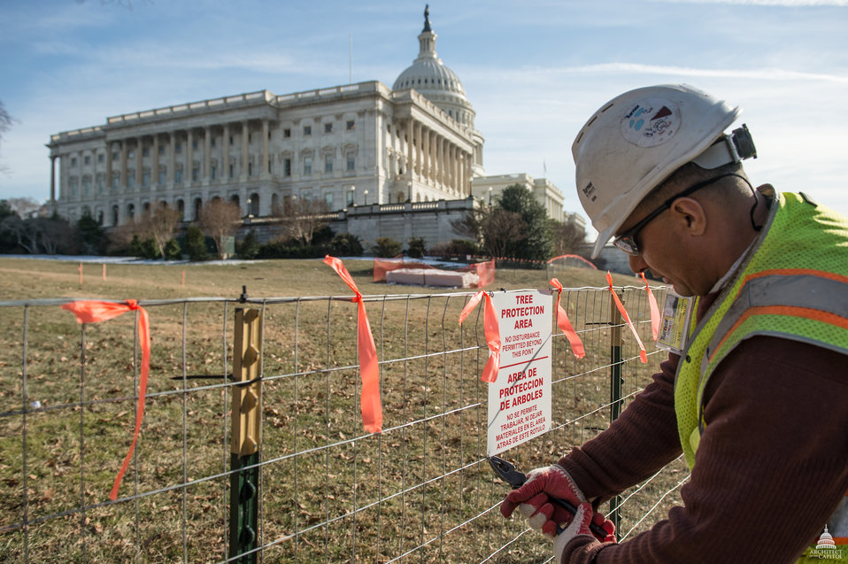 Staging Area Setup for Capitol Dome Restoration
