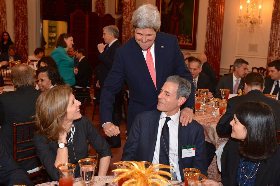 Secretary Kerry Chats With Ambassador Kennedy and Under Secretary Stengel