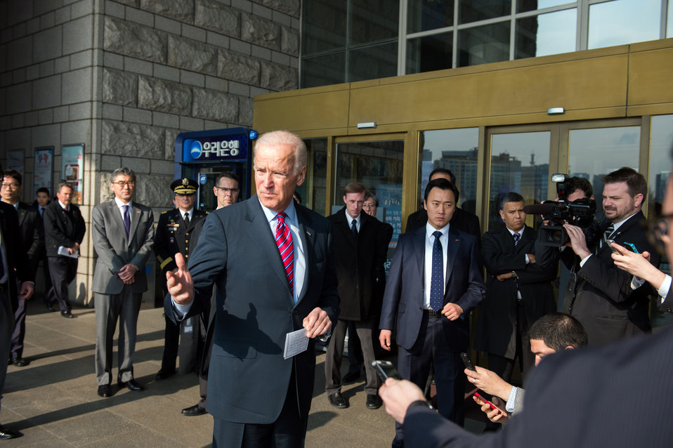 Vice President Biden Addresses Reporters at the War Memorial of Korea