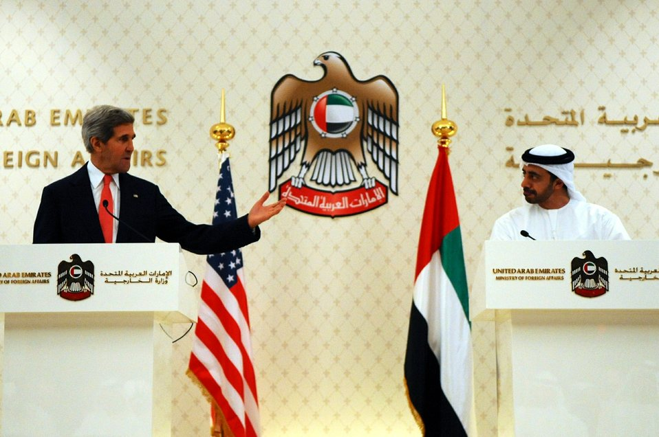 Secretary Kerry Speaks During a Joint News Conference in the UAE