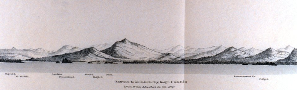 Entrance to Metlakatla Bay, Knight Island.  In: Pacific Coast Pilot Alaska Part I 1883.  P. 28.  Library call number VK943 .N3 1883.