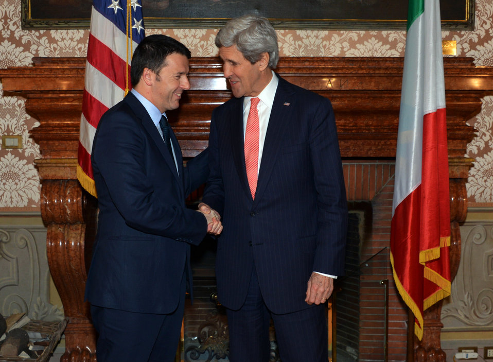 Secretary Kerry Meets With Italian Prime Minister Renzi