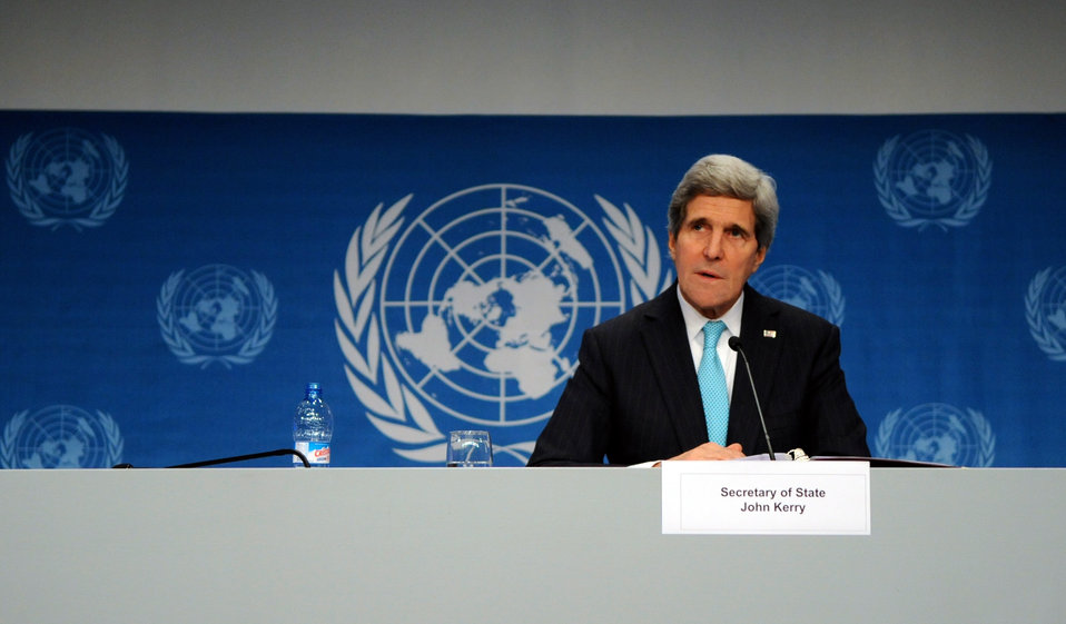Secretary Kerry Addresses Reporters After Geneva II Meeeting