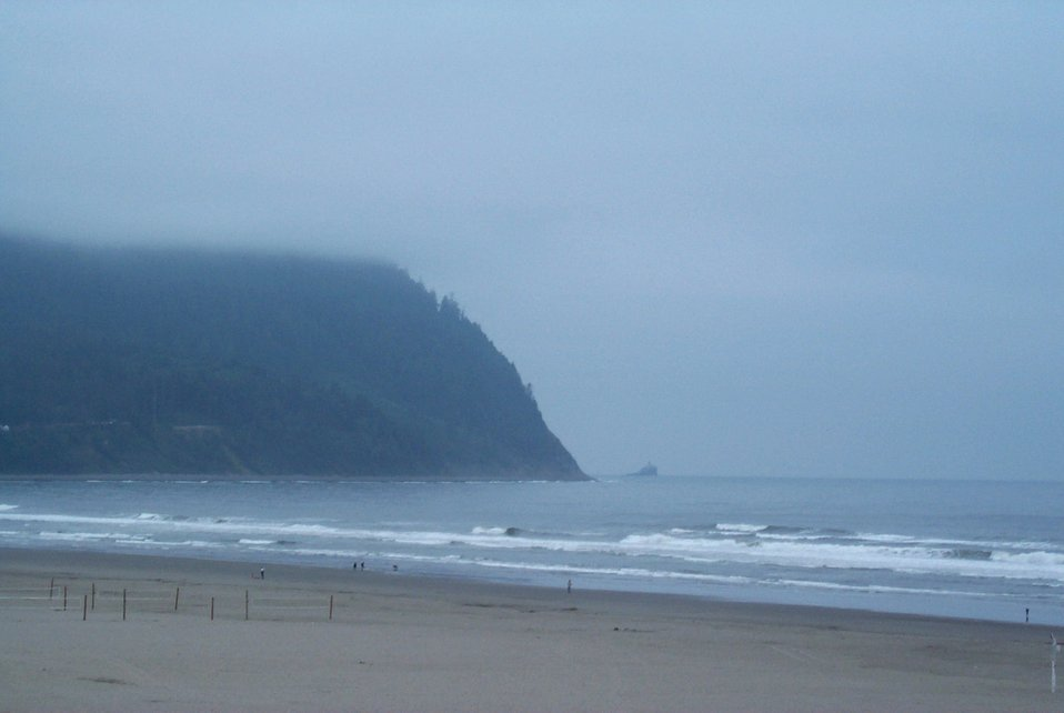 Mist coming in on Tillamook Head looking south from Seaside.