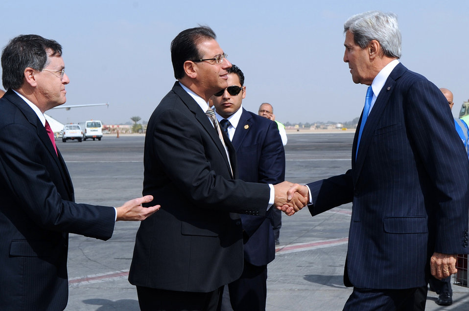 Secretary Kerry Is Greeted By Charge Satterfield and Egyptian Chief Of Protocol Munib