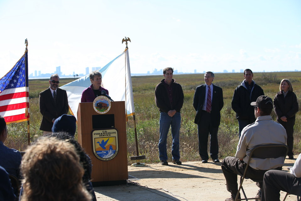 Secretary Sally Jewell speaking at Edwin B. Forsythe National Wildlife Refuge
