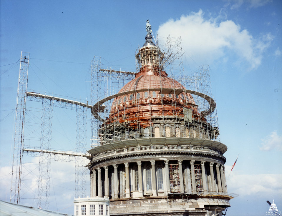 Dome Paint Stripped and Scaffold 1960