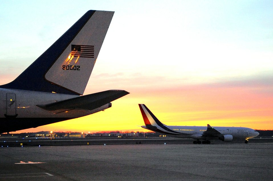 French President Hollande's Plane Taxis Into Position at Andrews Air Force Base